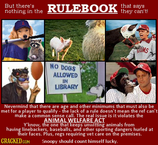 But there's RULEBOOK that says nothing in the they can't! SOMS NO DOGS ALLOWED IN LIBRARY Nevermind that there are age and other minimums that must al