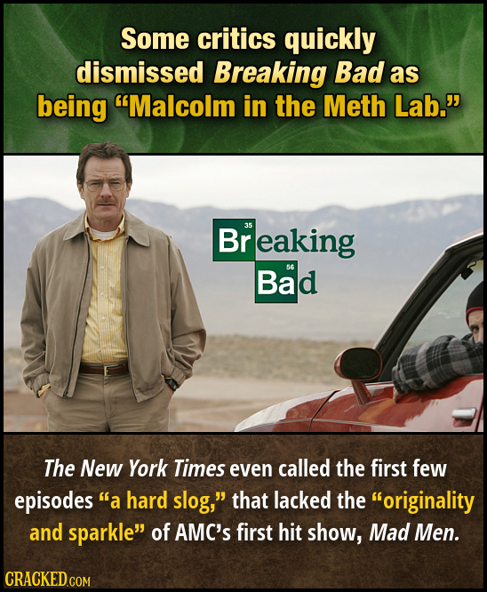 Some critics quickly dismissed Breaking Bad as being Malcolm in the Meth Lab. Breaking 35 Bad 56 The New York Times even called the first few episod