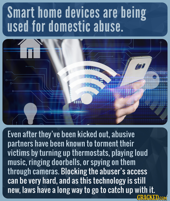 Smart home devices are being used for domestic abuse. Even after they've been kicked out, abusive partners have been known to torment their victims by