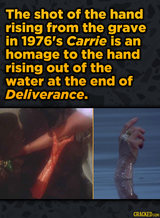 Movie Scenes With Hidden Homages To Other Movies - The shot of the hand rising from the grave in 1976's Carrie is an homage to the hand