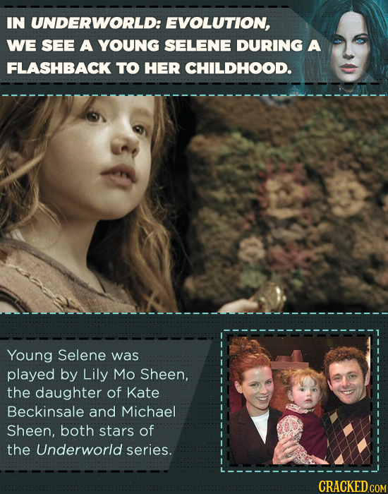 IN UNDERWORLD: EVOLUTION, WE SEE A YOUNG SELENE DURING A FLASHBACK TO HER CHILDHOOD. Young Selene was played by Lily Mo Sheen, the daughter of Kate Be