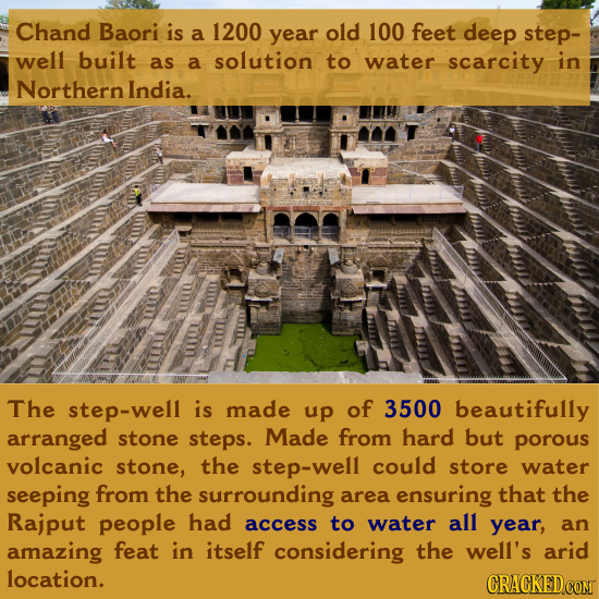 Chand Baori is a 1200 year old 100 feet deep step- well built as a solution to water scarcity in Northern India. The step-well is made up of 3500 beau