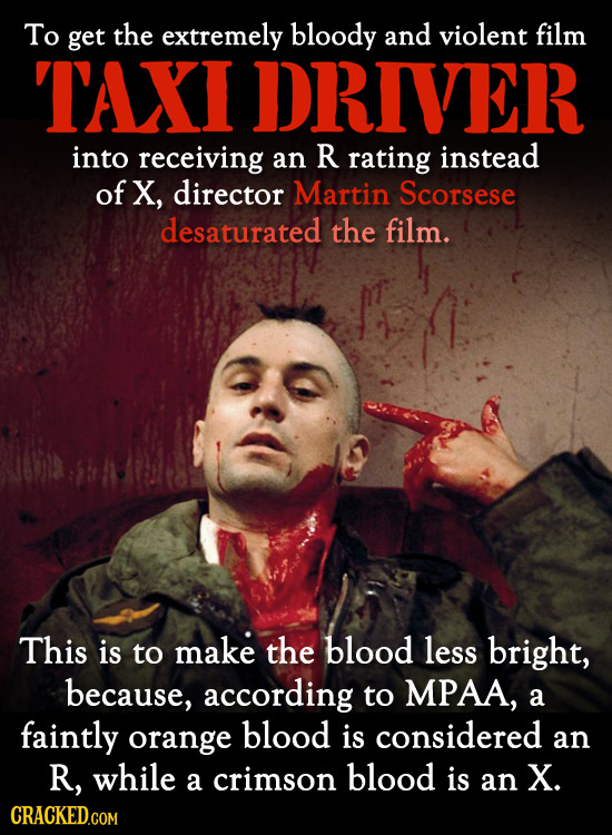 To get the extremely bloody and violent film TAXI DRIVER into receiving an R rating instead of X, director Martin Scorsese desaturated the film. This