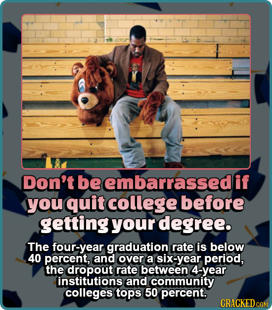 Don't be embarrassedi if you quit college before getting your degree. The four-year graduation rate is below 40 percent, and over a six-year period, t