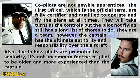 Co-pilots are not newbie apprentices. The First Officer, which is the official term, are fully certified and qualified to operate and fly the plane at
