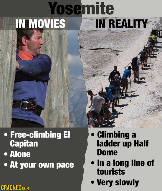 Yosemite IN MOVIES IN REALITY Free-climbing EI Climbing a Capitan ladder up Half Alone Dome At In line of your pace long own a tourists Very slowly CR