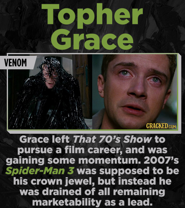 Topher Grace VENOM CRACKEDCON Grace left That 70's Show to pursue a film career, and was gaining some momentum. 2007's Spider-Man 3 was supposed to be
