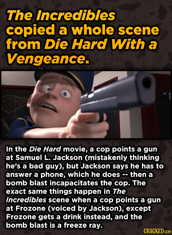Movie Scenes With Hidden Homages To Other Movies - The Incredibles copied a whole scene from Die Hard With a Vengeance.